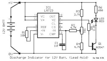 Discharge Indicator Circuit for 12V Lead Acid Battery