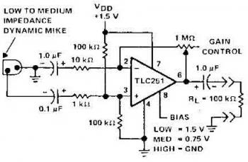 Mic Preamplifier Circuit based TLC251 circuit diagram