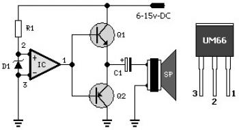 UM66 Music Generator Circuit diagram