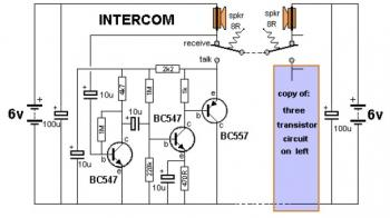 Simple Intercom Circuit with Transistor