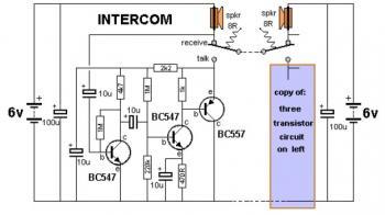 Simple Intercom Circuit with Transistor