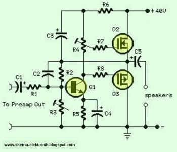 18 watt Audio Amplifier using MOSFET circuit diagram