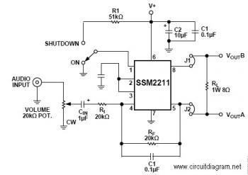 1.5W Audio Amplifier with IC SSM2211 circuit