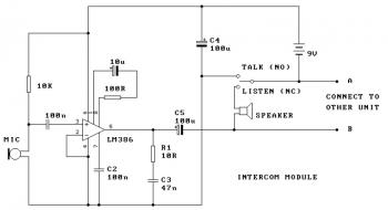 Two Station Intercom circuit diagram