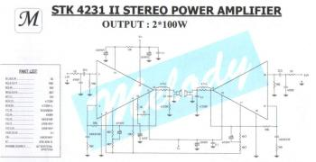 STK4231II, Stereo Amplifier 2x100 Watts circuit