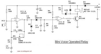 Mini Voice Operated Relay circuit diagram