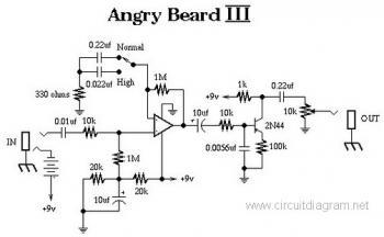 Angry Beard III Electric Guitar Effect circuit diagram