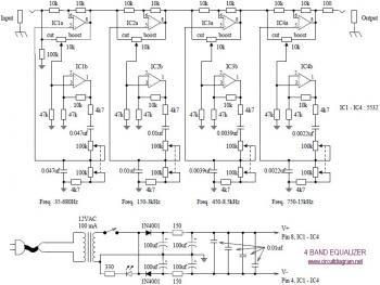 4 Band Equalizer circuit diagram