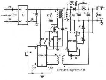 5V DC / 10A Offline Switching Power Supply circuit diagram