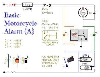 Basic Motorcycle Alarm circuit diagram