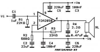 32W HiFi Audio Amplifier Circuit based TDA2050