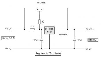 Regulated Current Booster for Power Supply circuit diagram